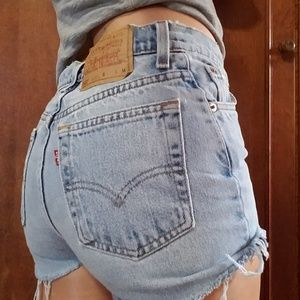 Vintage Levi's High Waist Denim Jean Cutoff Shorts